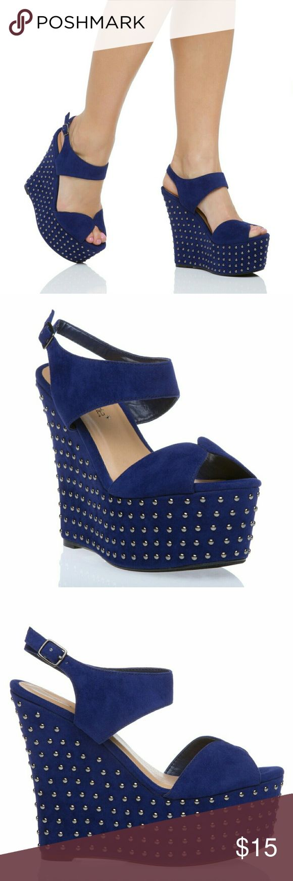Shoe Dazzle Agata Blue Studded Wedges - SZ 7.5 Shoe Dazzle Agata Collection Blue Studded Wedges in size 7.5. Condition is lightly worn but very good shape. See pictures. Any questions feel free to ask! All reasonable offers accepted. Shoe Dazzle Shoes Wedges