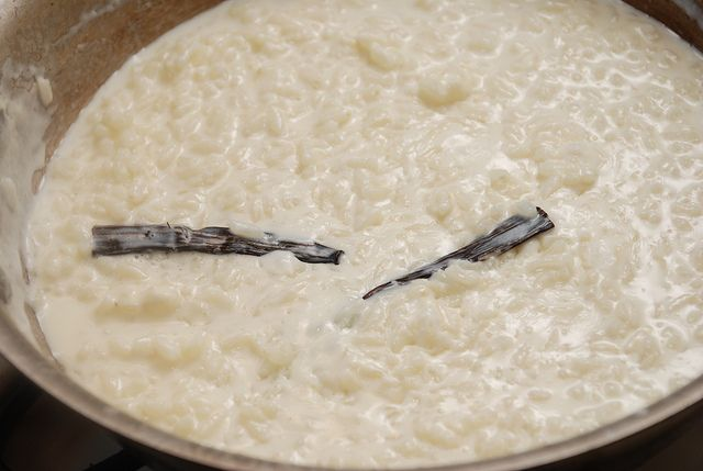 Spanish Rice Pudding  Used 3 c. skim, 1 c. Fat Free half and half - super creamy!  1/8 c. sugar