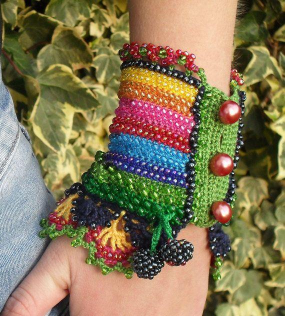 Fritillaria crochet beaded cuff bracelet beaded by MySecretHistory