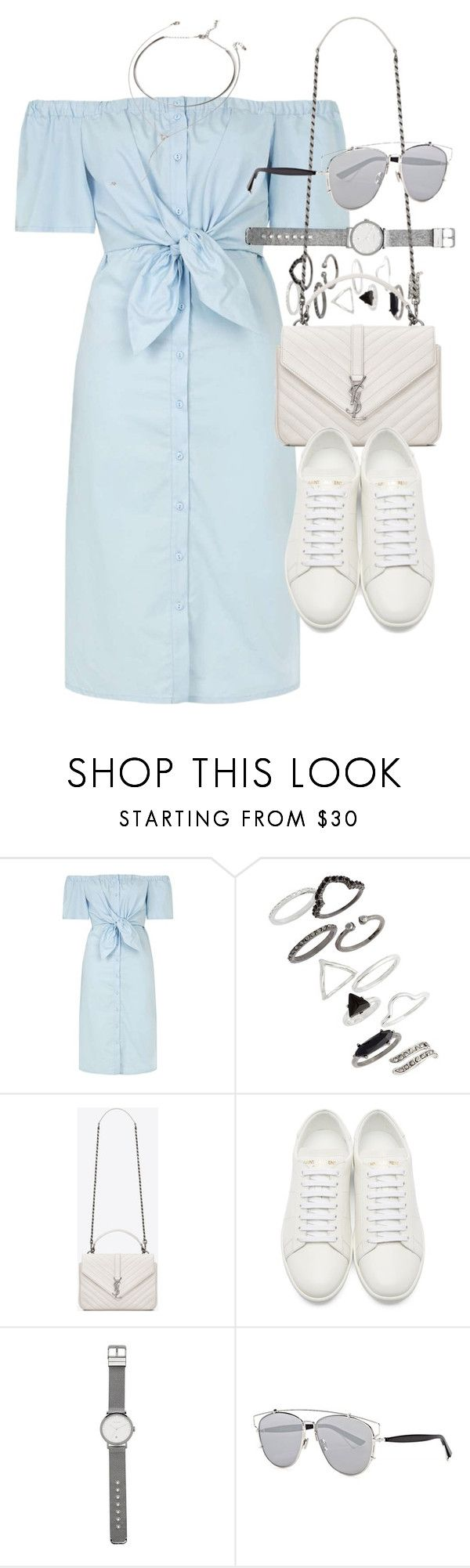 """""""Outfit for summer with a denim dress"""" by ferned ❤ liked on Polyvore featuring Topshop, Yves Saint Laurent, Witchery, Christian Dior and Forever 21"""