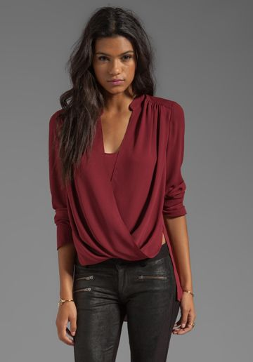 BCBGMAXAZRIA Wrap Blouse in Merlot at Revolve Clothing - Free Shipping!