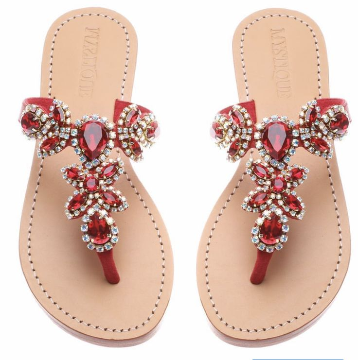 Red Sandals, Jeweled Sandals, Summer Sandals, Flat Sandals, Leather Sandals,  Summer Shoes, Beaded Shoes, Lace Shoes, Shoes Sandals