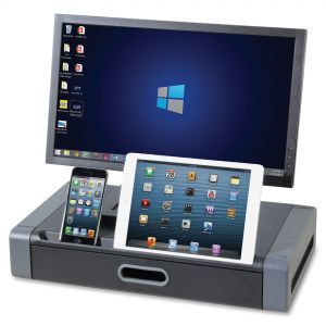 Kantek Monitor Riser, 19 x 11 x 4, Black/Gray - Monitor riser with slot for smartphone or tablet an a drawer for supplies.