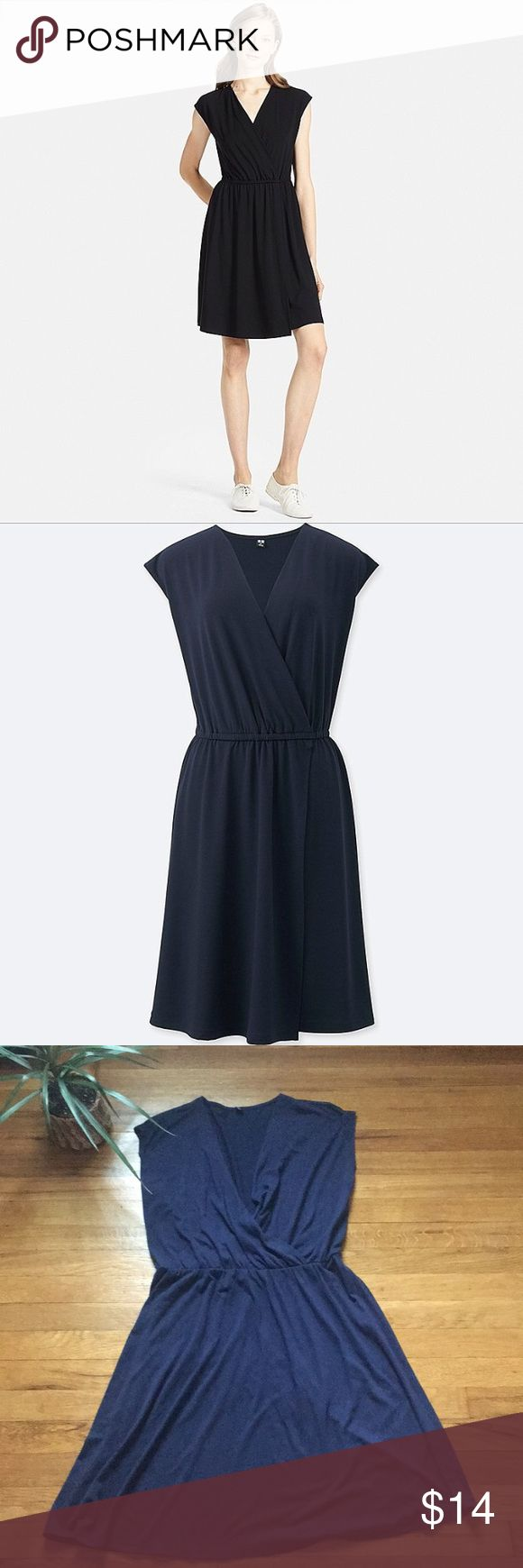 Uniqlo faux wrap jersey dress Uniqlo faux wrap sleeveless dress. SiZe xs, runs large. Navy. In good used condition. Feel free to ask any questions 😊 Dresses