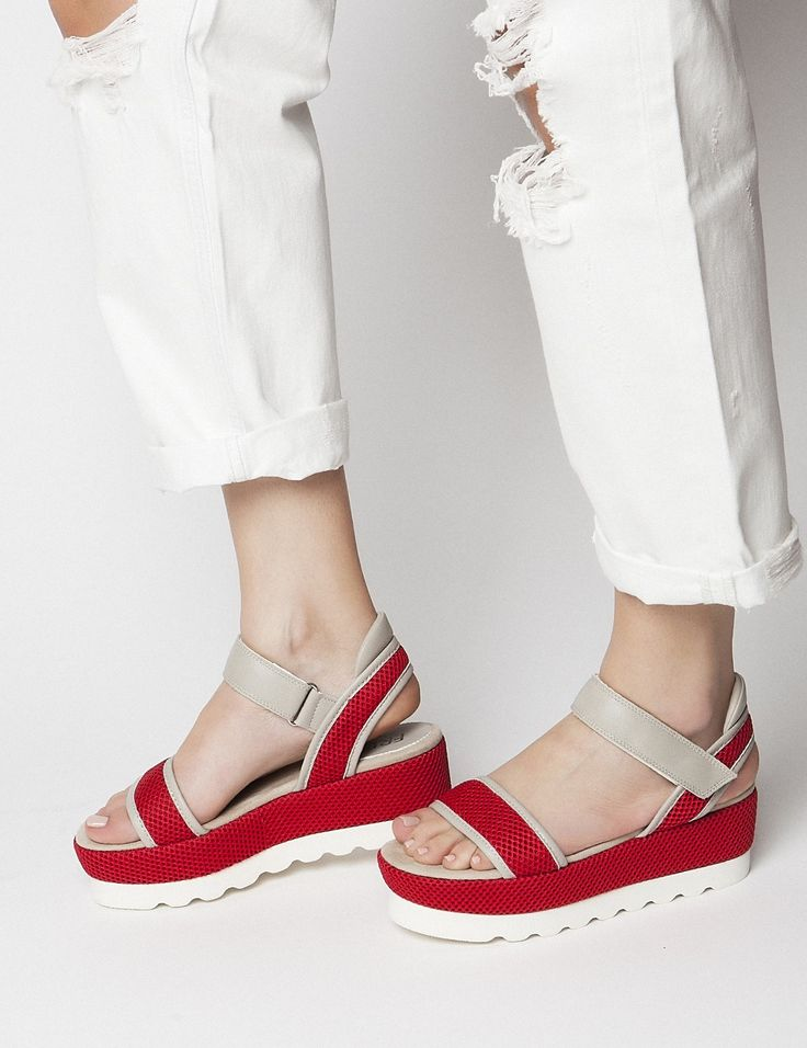 Sylvia Red Flatforms S/S 2015 #Fred #keepfred #shoes #collection #mesh #fashion #style #new #women #trends #flatforms #red #platforms #leather