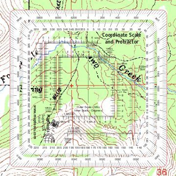 Compass: Map Tools Improved Military Style UTM/MGRS Coordinate Scale Compass Rose in both Degrees and Mils