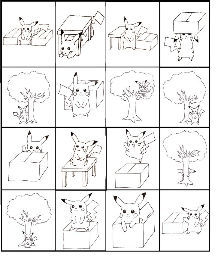 Pikachu Bingo: practicing prepositions! Board 3 of 4. Made by Marlén Næss Eriksen.