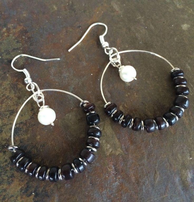 Black Shell Genuine Pearl Hoop Earrings by circleofstonesjewel on Etsy