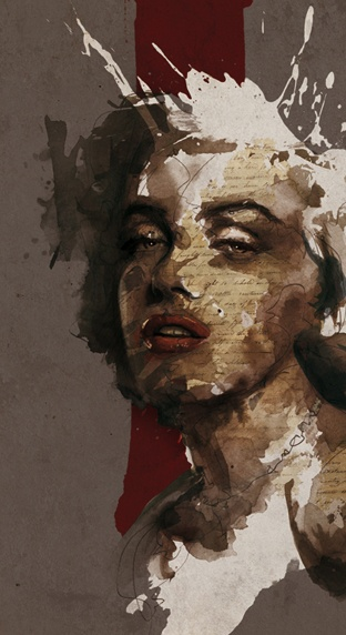 """Marilyn"" - Florian Nicolle {mixed-media #expressionist female face grunge portrait}"