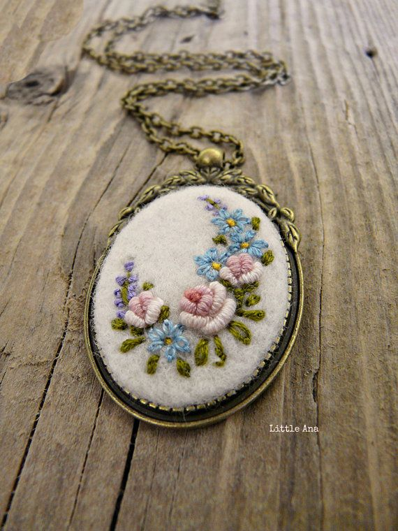 Needle felted necklace with hand embroidered flowers pendant