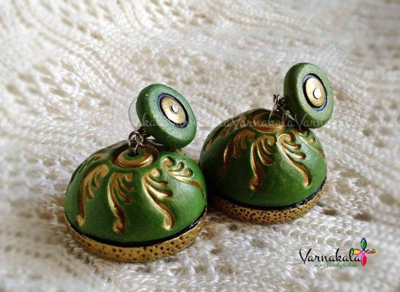 GREEN & GOLD JUMKA Handmade terracotta earring by Varnakala