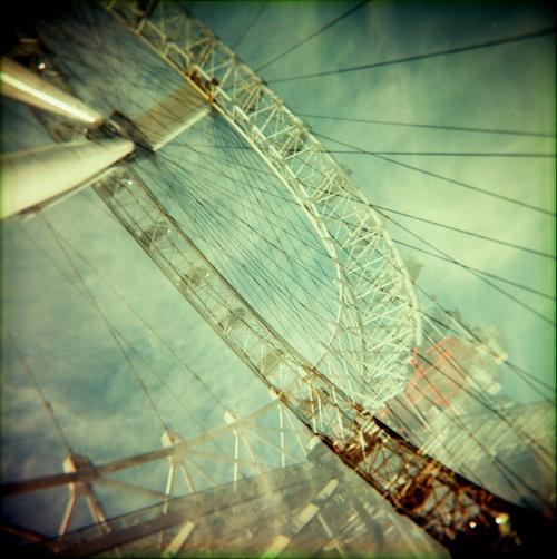 London Eye, double exposure shot with my plastic fantastic Holga camera.