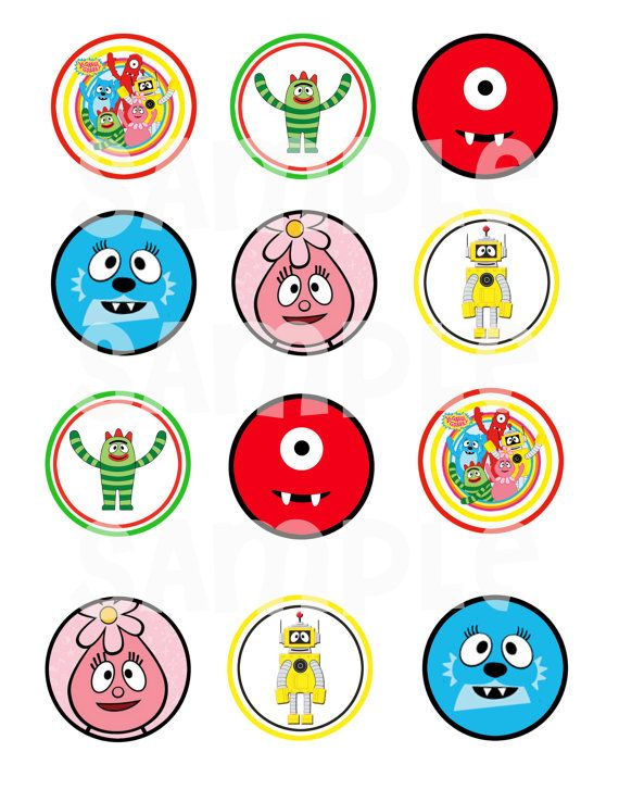 Yo Gabba Gabba Cupcake Topper / Printable / Label on Etsy, $4.50