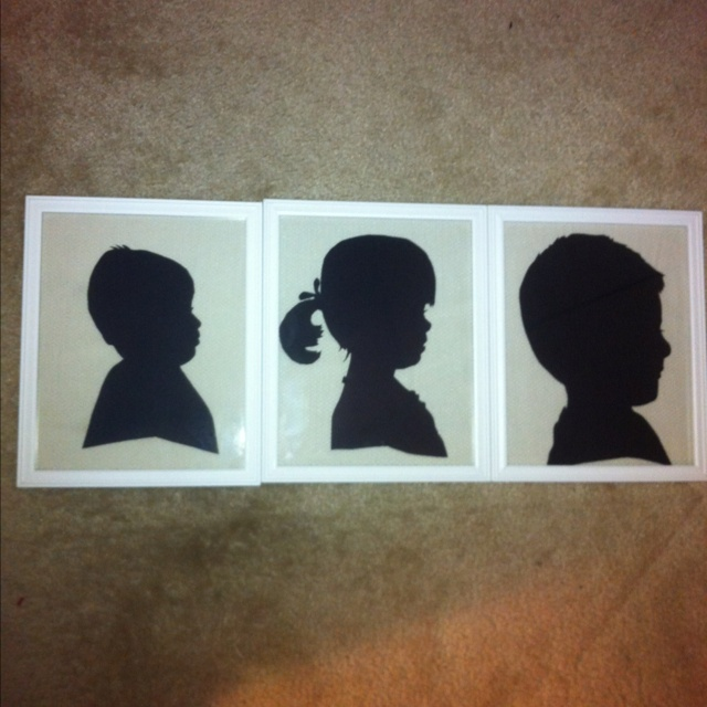 Silhouettes of the grandkids. DIY present for my mom.