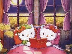 Hello Kitty's bedtime reading