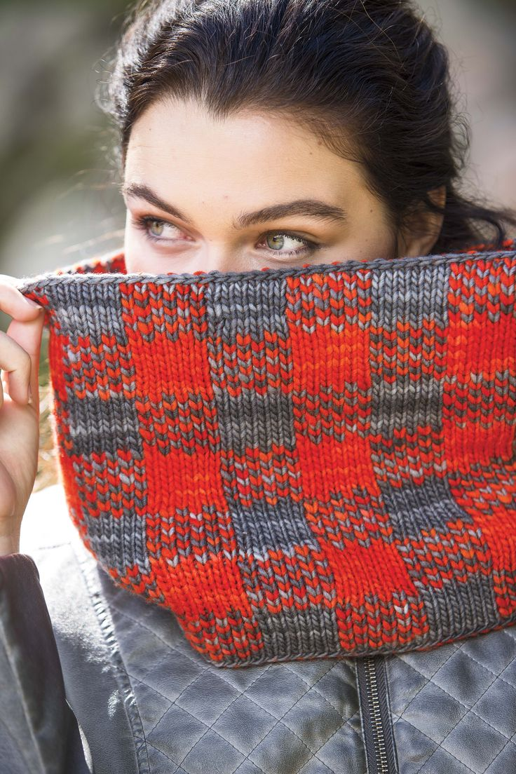 Learn double knitting with the super-cool plaid patterned Trapper Cowl from Interweave Knits Winter 2015.