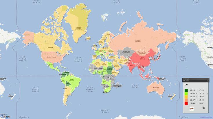 En el siguiente mapa podemos ver qué países tienen el pene más largo y los que lo tienen más pequeño. La media mundial del tamaño del pene es de 13,53 centímetros. Los africanos y centroamericanos tienen el pene más grande que la media. Mientras que los indios, chinos, coreanos y japoneses la tienen más pequeña.