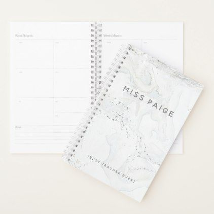 (BEST TEACHER EVER) MARBLE PLANNER - marble gifts style stylish nature unique personalize
