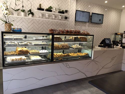quartz countertop at Belmore Cakes in Smartstone Calacatta Blanco
