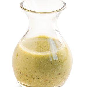 Pistachio Vinaigrette:  1/3 cup fresh lemon juice  1 shallot, chopped  2 tablespoons chopped fresh tarragon  1 tablespoon red wine vinegar  1 teaspoon sugar  2 teaspoons Dijon mustard  3/4 teaspoon salt  1/2 teaspoon pepper  3/4 cup olive oil  1/4 cup pistachios