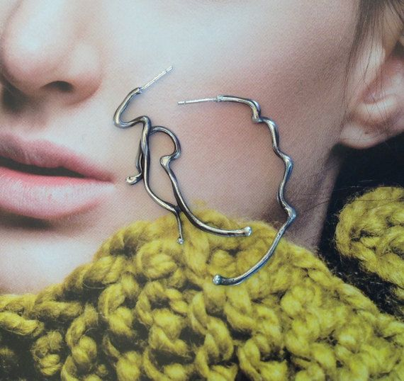 Sculptural Earrings Large Silver Earrings Long Post by SilverEdit