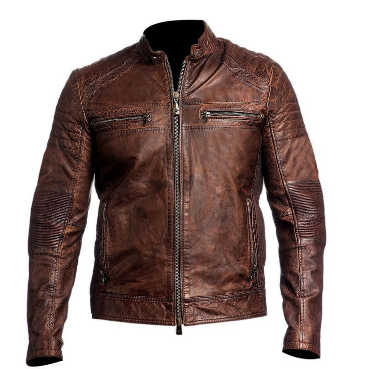 Mens Biker vintage motorcycle distressed brown cafe racer leather jacket  #Handmade #BasicJacket