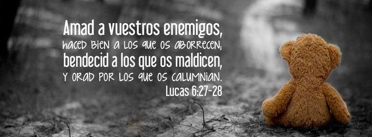 Amad a vuestros enemigos - Lucas 6:27-28 Pero a vosotros los que oís, os digo: Amad a vuestros enemigos, haced bien a los que os aborrecen; bendecid a los que os maldicen, y orad por los que os calumnian.