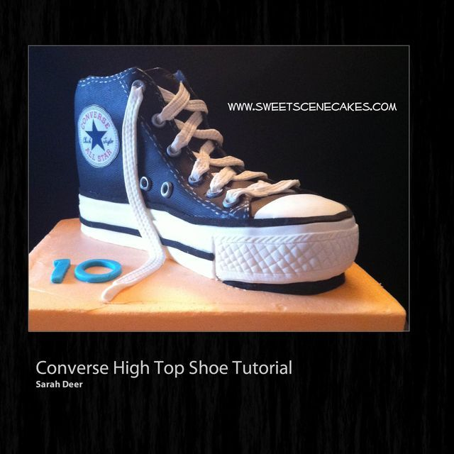 Converse High top Sneaker Tutorial - by SweetSceneCakes @ CakesDecor.com - cake decorating website