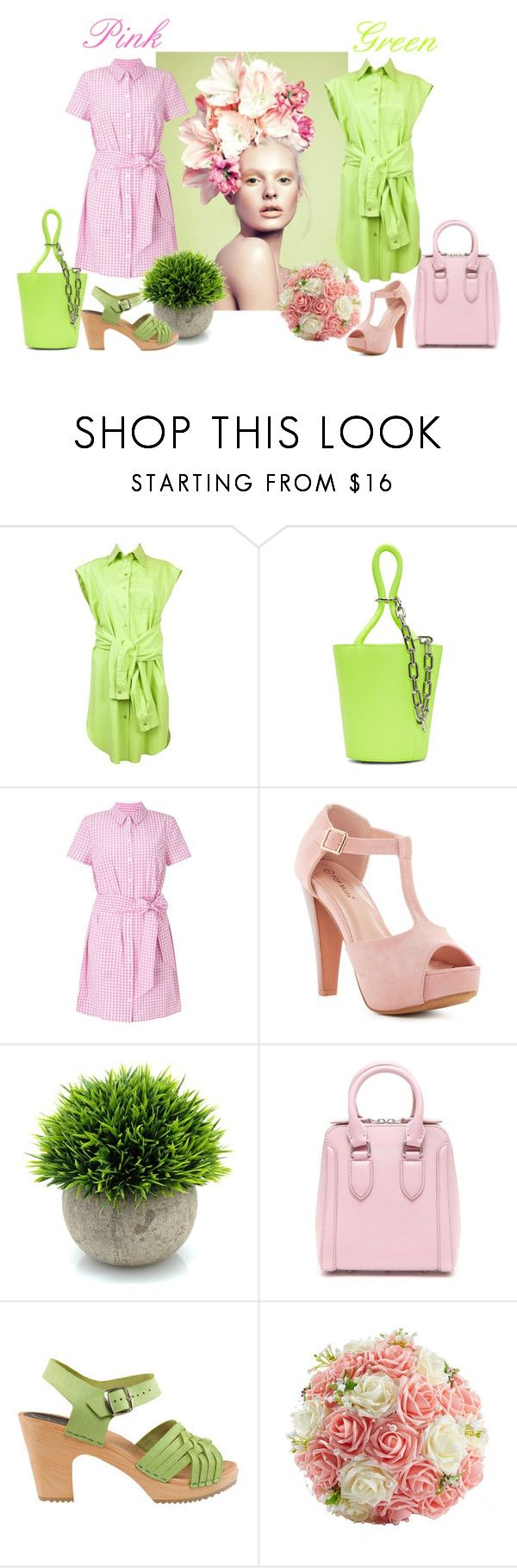"""Pink or green?"" by ciukinaa ❤ liked on Polyvore featuring Moschino, Alexander Wang, Miss Selfridge, Top Moda, Alexander McQueen and Cape Clogs"