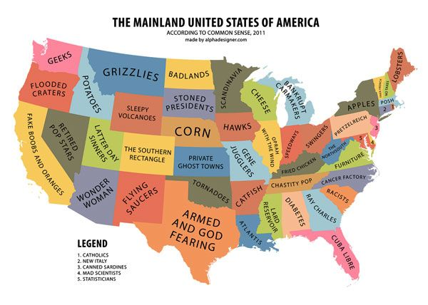 Yanko Tsvetkov Has Designed This Map Of The United States With - State stereotypes alabama