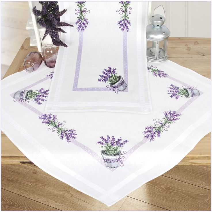 Potted Lavender Table Runner - Cross Stitch, Needlepoint, Embroidery Kits – Tools and Supplies