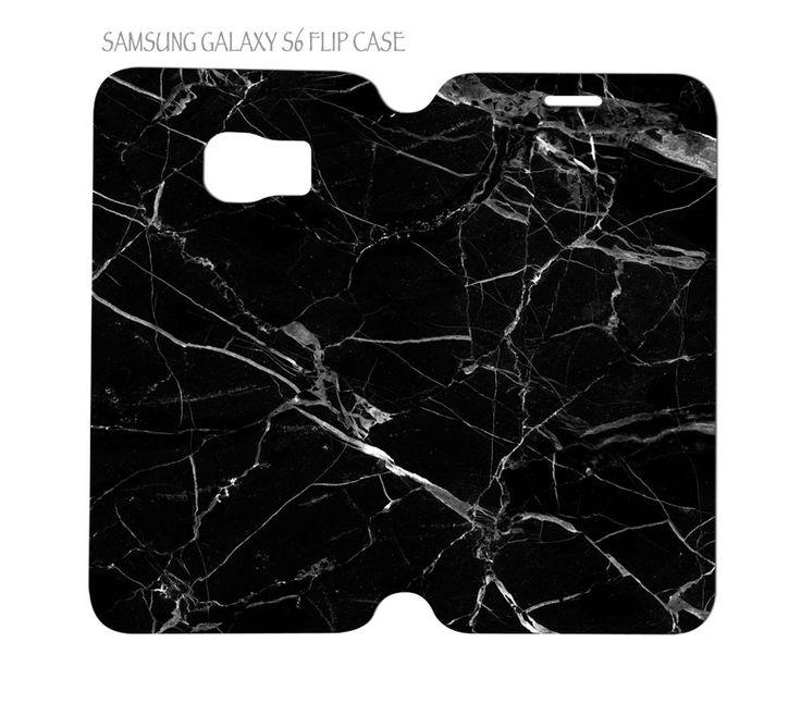 Samsung Galaxy S6 G920 Folio Flip Case Cover Black Marble #QuinnCafe