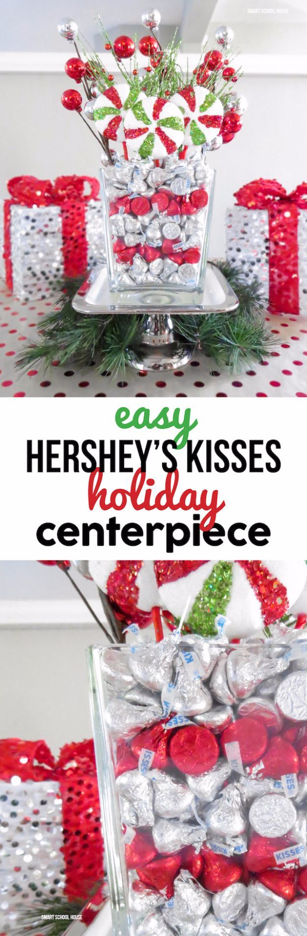 DIY Christmas Centerpieces - Easy Hershey's Kisses Holiday Centerpiece - Simple, Easy Holiday Decorating Ideas on A Budget - Cheap Home and Table Decor for The Holidays - Dollar Store Crafts, Rustic Candles, Pine Cones, Floral Ideas and Mason Jar Craft Projects http://diyjoy.com/diy-christmas-centerpieces