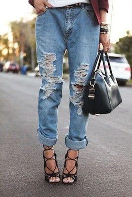 Distressed boyfriend jeans + heels via @shefinds