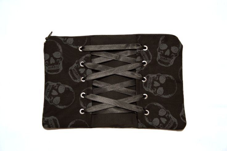 Black and Grey Skulls Corset Zipper Pouch / Makeup Cosmetic Bag by Pornoromantic