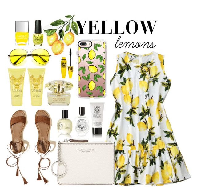 lemon by natalka-safranekova on Polyvore featuring polyvore fashion style Hollister Co. Marc Jacobs Casetify Maybelline Versace Diptyque Nails Inc. OPI Pottery Barn clothing