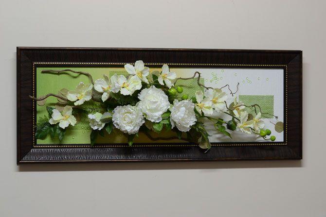 Купить панно из искусственных цветов на стену