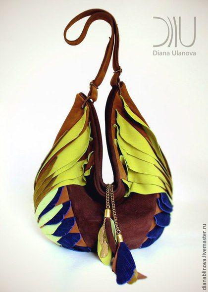 """Женские сумки ручной работы. Заказать """"Тотем"""" сине-коричневый. Диана Уланова авторские сумки. Ярмарка Мастеров. Подарок женщине"""