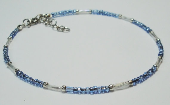 ARCTIC CIRCLE - Blue & White Delicate Seed Bead Anklet, Ankle Bracelet