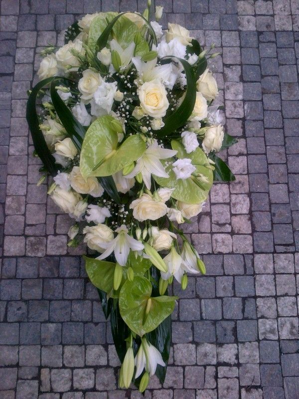 Funeral Flowers White - Anthurium, Eustoma, Rose, Lilly