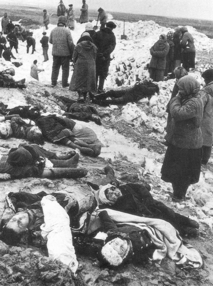 Bagerovsky antitank ditch near Kerch in the Crimea. Local residents mourn those massacred by the Germans, winter 1941-42.