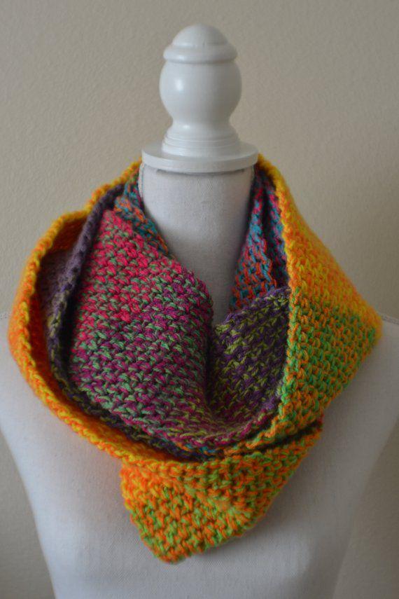 Bright Vegan Crochet Infinity Scarf Crochet Pinterest Crochet