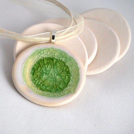 Ceramic & recycled, upcyled glass pendant!