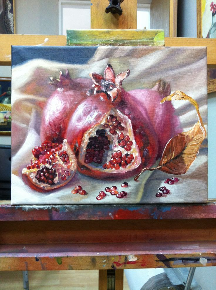 Recent 'pomegranates'. 25x30, canvas, oil, Victor Hugot. Studio Daf. Israel.