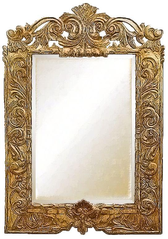 Model: with Crown Carved Frame - Gilded OD - 40 x 60 high ID - 25 x 33 high  Molding Width - Original frame found in: Cusco, Peru.