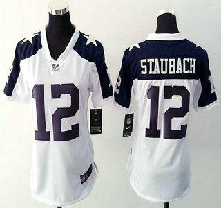 Women's Dallas Cowboys Jersey 12 Roger Staubach Nike White Thanksgiving Game Jerseys