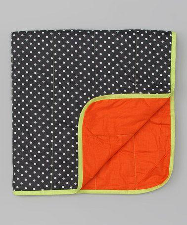 Gray & Orange Stroller Blanket by Manuketa by Sophie Catalou