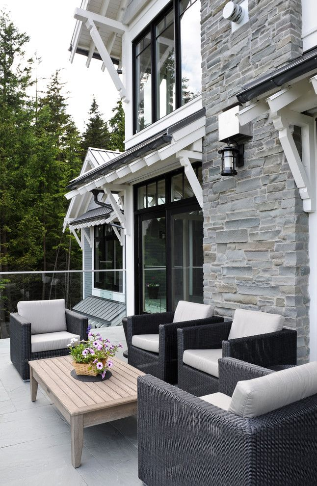 Engaging Grey Stone home renovations Transitional Patio Vancouver