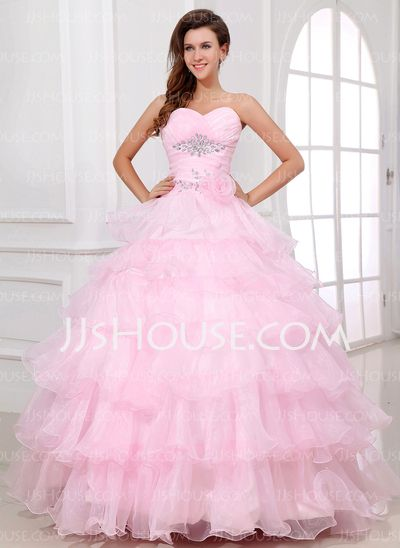 Quinceanera Dresses - $216.49 - Ball-Gown Sweetheart Floor-Length Organza Quinceanera Dress With Beading