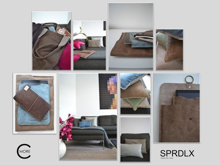 C-More | design + interieur + trends + lifestyle + fashion    Leren kussens en tassen en ipadhoes van SPRDLX!